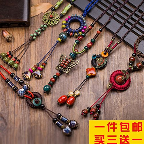 US!_ 2018 autumn handmade _antiquity_Guofeng_ sweater long chain necklace Pendant collar sweater