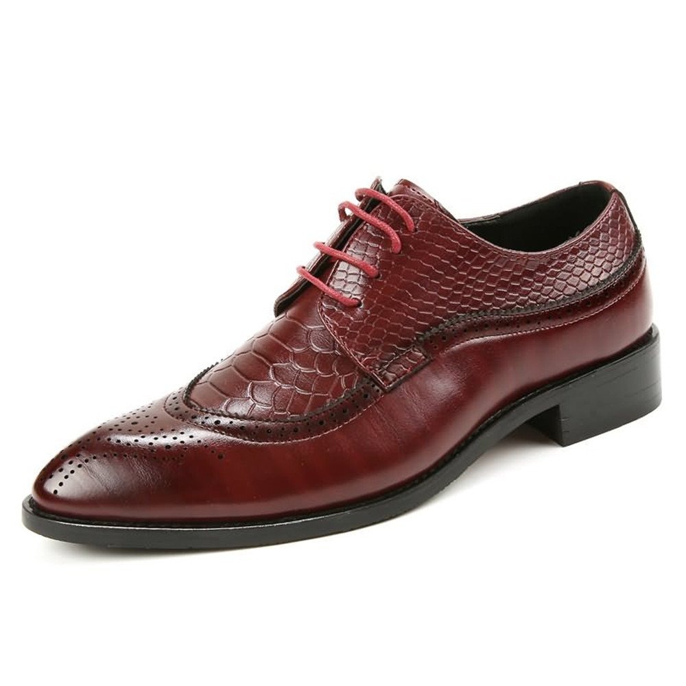 Red Z.L.F Men's Oxfords shoes Flat Heel Soft PU Leather Lace Up Business Casual Formal shoes