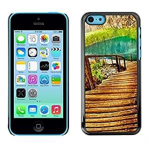 TopCaseStore / la caja del caucho duro de la cubierta de protección de la piel - Nature Beautiful Forrest Green 9 - Apple iPhone 5C