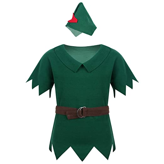 60d7db0f Amazon.com: TiaoBug Kids Boys Robin Hood Costumes Short Sleeves Peter Pan  T-Shirt with Hat Halloween Cosplay Party Fancy Dress up: Clothing