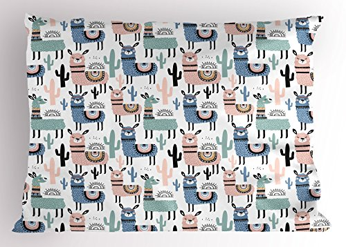 (Ambesonne Llama Pillow Sham, Children Cartoon Style Hand Drawn South American Animals Alpacas and Llamas Design, Decorative Standard Size Printed Pillowcase, 26 X 20 Inches, Multicolor )