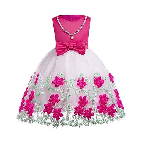 d742bb3a3b7f7 Oyedens Bambine Senza Maniche Principessa Abiti Eleganti Bambina Partito  Compleanno Comunione Swing Vestiti Da Cerimonia Floreale