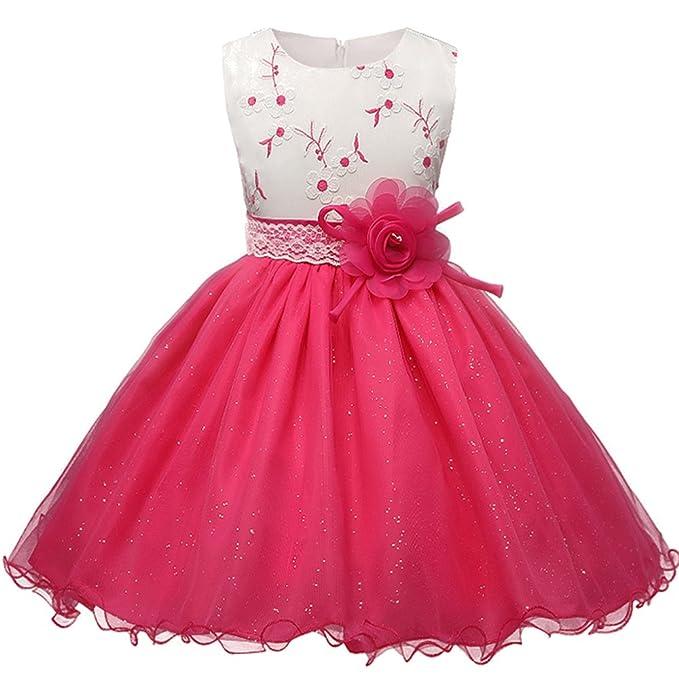 ZEVONDA Niñas Vestido Lentejuelas de Tul Corto para Boda Princesa con Lazo sin Mangas: Amazon.es: Ropa y accesorios
