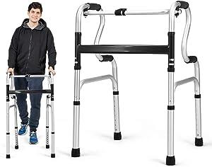Goplus Folding Walker, 400LBS FDA Certification Toilet Armrest, Height Adjustable Adult Walker, Medical Walker for Seniors Elderly Users& Limited Mobility with Disabled
