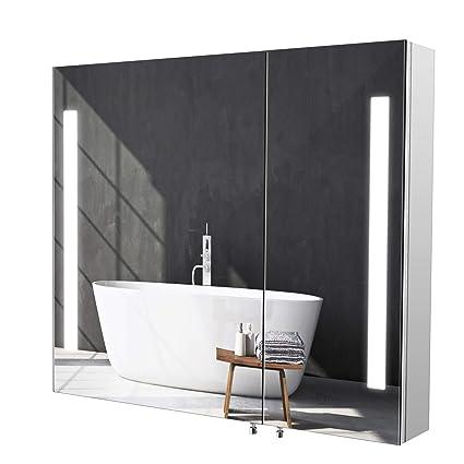 Homfa Armario de Pared Armario Baño con Espejo Armario Baño con Luz LED 2 Puertas 2 Compartimentos de Acero Inoxidable 76x66x13cm
