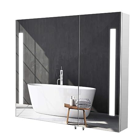 Specchio Bagno Contenitore Led.Homfa Armadietto Specchio Da Bagno Illuminazione Led Sensore