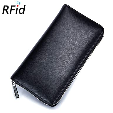 Soft Leather RFID Card Protection Wallet With Note Compartments Card Section