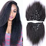 Moresoo 100g 7pcs Unprocessed Brazilian Yaki Afro Kinky Straight Clip In Natural Color Remy Human Hair Extensions for Black Women African Americans Hair Style Clip on Hair Full Head Set 16 inch