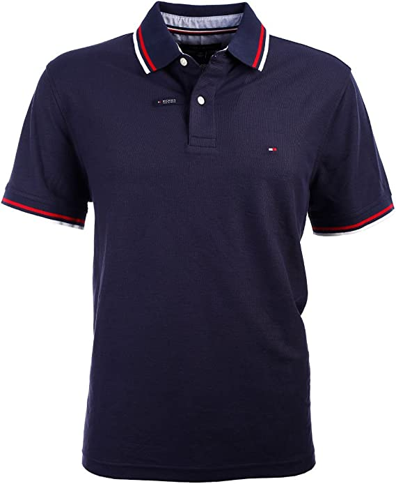 Tommy Hilfiger Men's Classic Short Sleeve Polo Shirt Blue Stripe Navy Pick Size