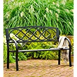 Plow and Hearth Celtic Knot Outdoor Bench, Tubular and Cast Iron, Black, 50 in L x 17½ in W x 34½ in H