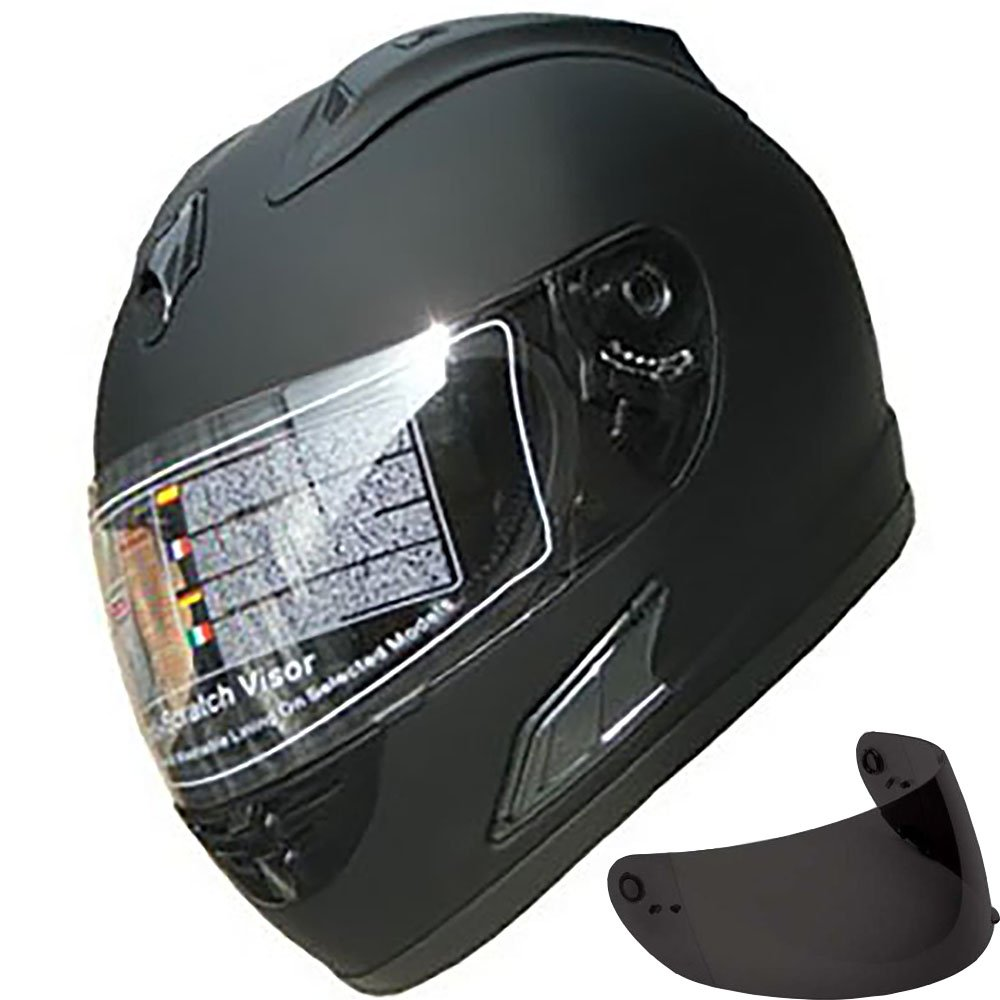 Motorcycle Street Sport Bike Helmet Full Face Helmet FF10 2 Visors Comes with Clear Shield and Free Dark Tinted Shield (Matt Black, XL)