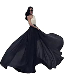 0c2b65fd20 Urban CoCo Women's Summer Chiffon Mopping Floor Length Big Hem Solid Beach  Maxi Skirt