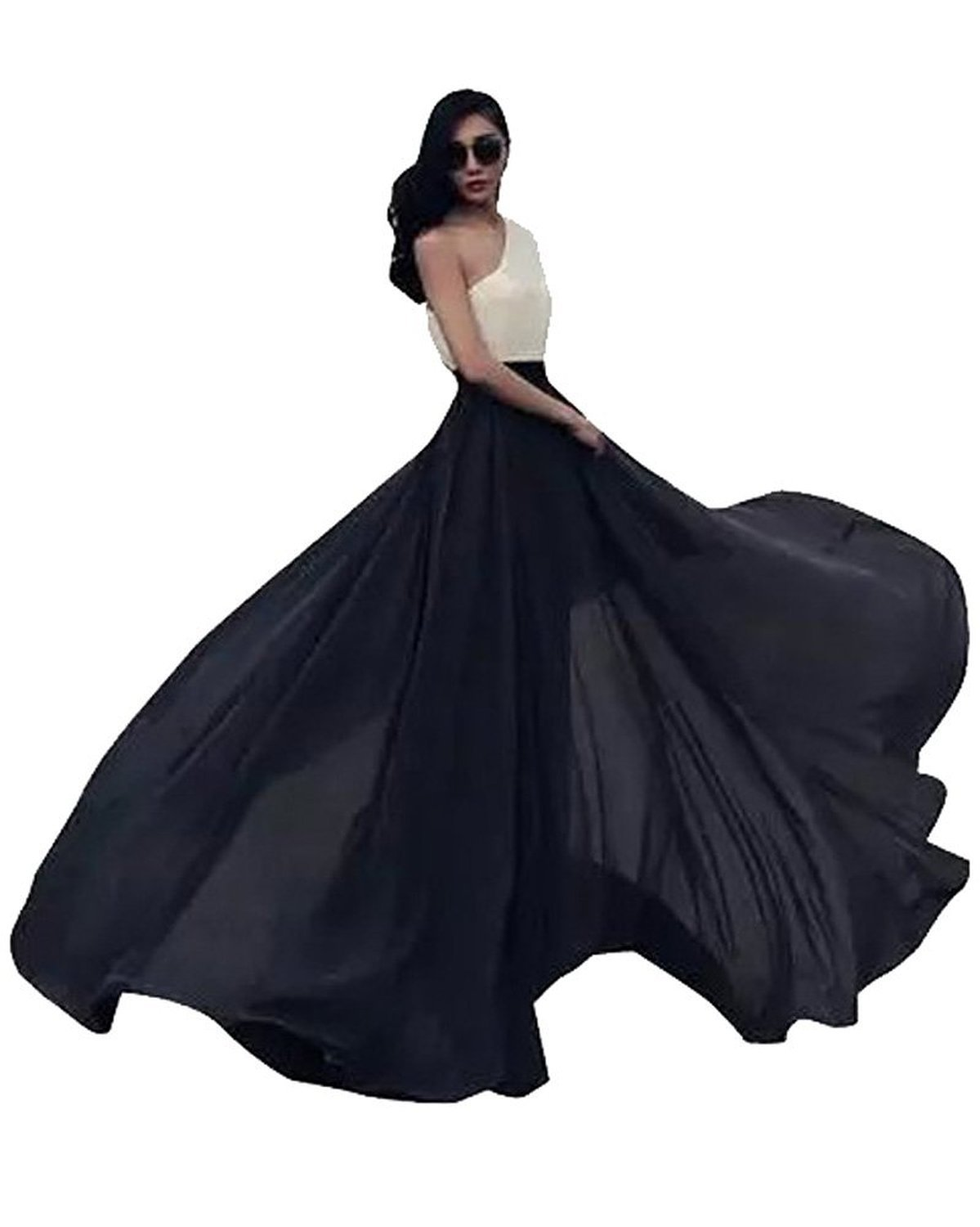 Women's Summer Chiffon Mopping Floor Length Big Hem Solid Beach Maxi Skirt (XX-Large), Black