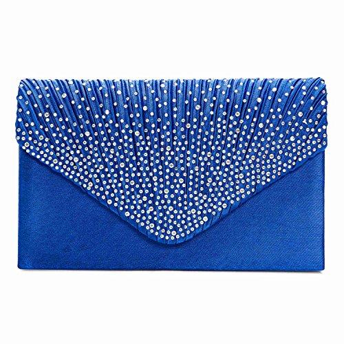 Ladies Evening Satin Bridal Diamante Ladies Clutch Bag Party Prom Envelope Style Clutch (Royal Blue)