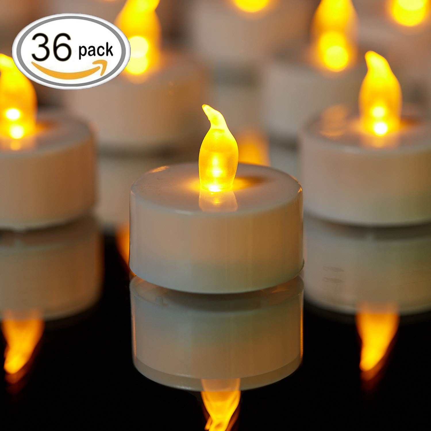TEECOO Summer Promotion:Tea lights, Flickering LED Tea Light Candles Flameless candles LED candles Φ3.4 x H3.6 36-pack Battery powered 100+ Hours(Warm Yellow,36-pack)