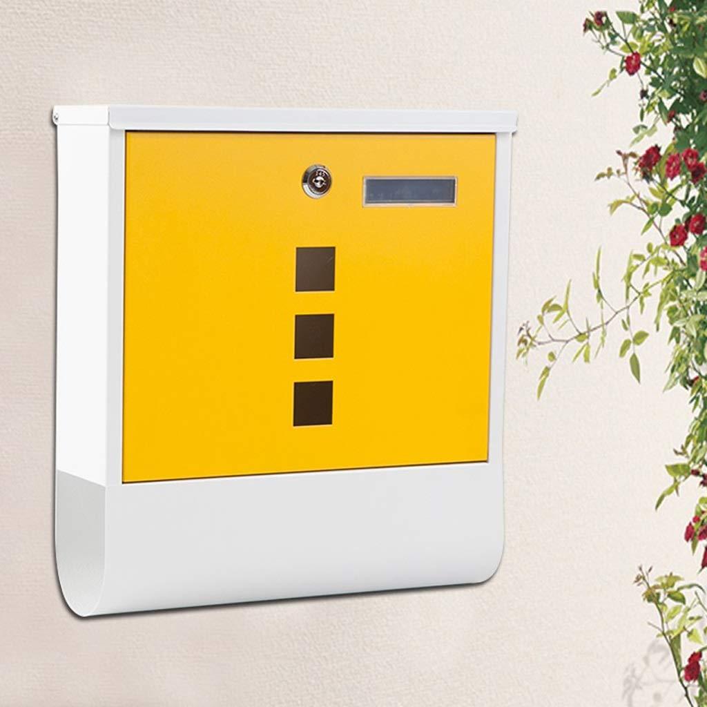 LRW レターボックス、屋外ヴィラ、屋外の壁、レインプルーフポストボックス、ポストボックス、雑誌の提案箱、黄色。   B07H8822KD