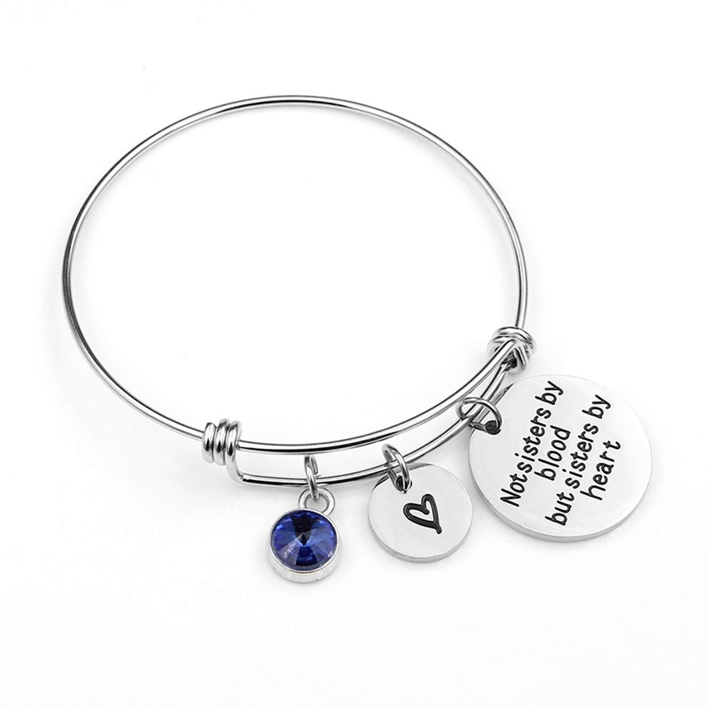Blingbox-store Birthstone Bangle Bracelets Stainless Steel Charm Bracelet for Women Friendship Gift