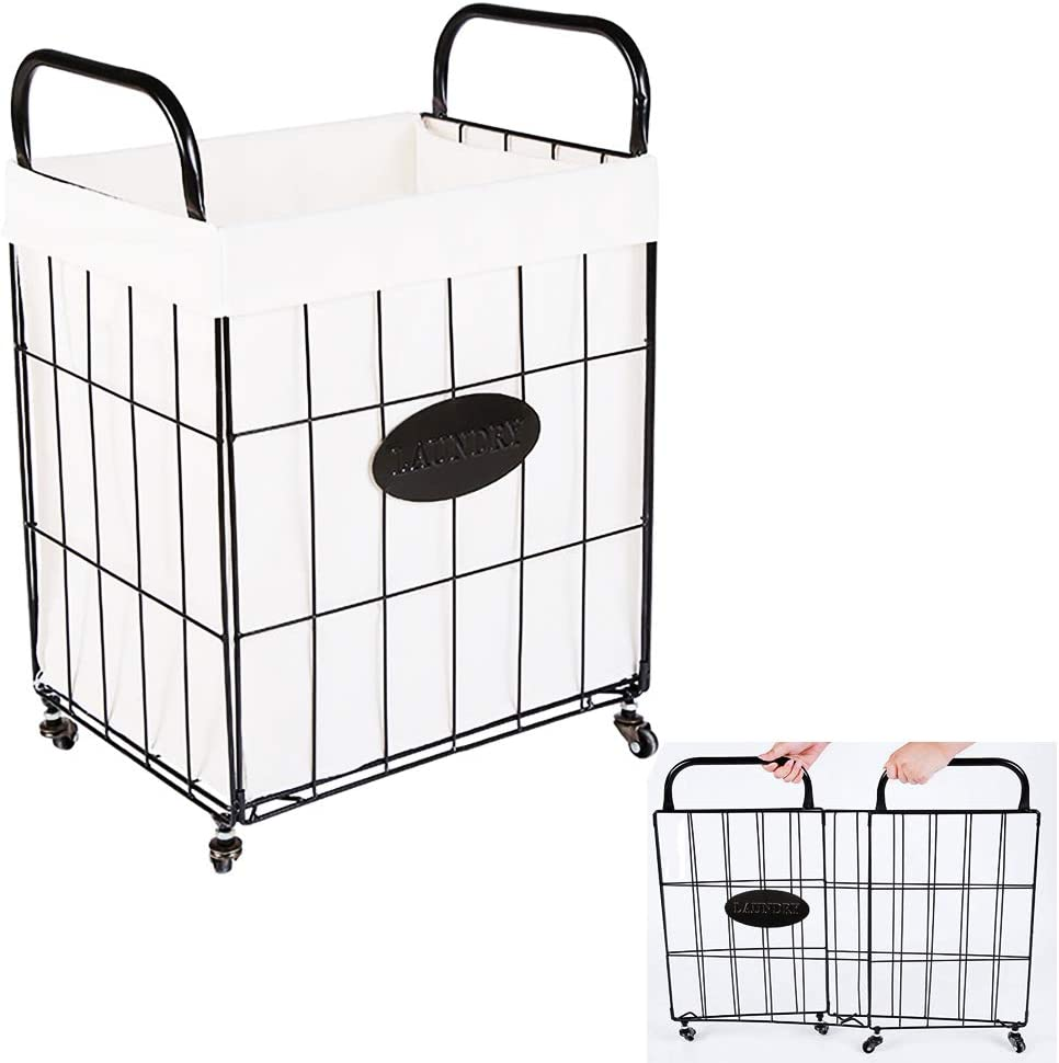 DoxiGlobal Folding Matel Wire Laundry Basket with Removable Bag Handles Collapsible Large Dirty Laundry Hamper Cart Sorter Utility Storage Organizer Tower 360° Rolling Swivel Wheels Home (Large)