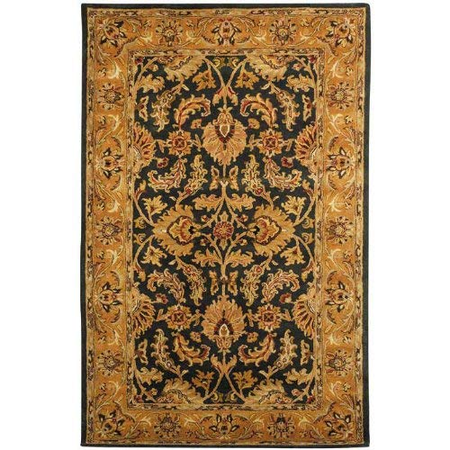 Safavieh Heritage Collection HG628A Handcrafted Traditional Oriental Dark Green and Gold Wool Area Rug (5' x 8')