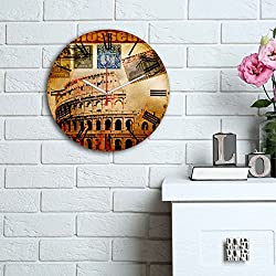 LaModaHome Home Decorative 100% MDF Wall REAL RUNNING CLOCK with Art (12 Diameter) Ready to Hang Painting Colasseum Stamp Italy Rome Historical Gladiator MULTI in STORE!