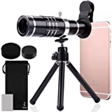 18X HD Telephoto Lens Kit for Phone Camera, AFUNTA Zoom Telescope Telescopic Lens with Mini Tripod for iPhone Samsung Smartphone - Black