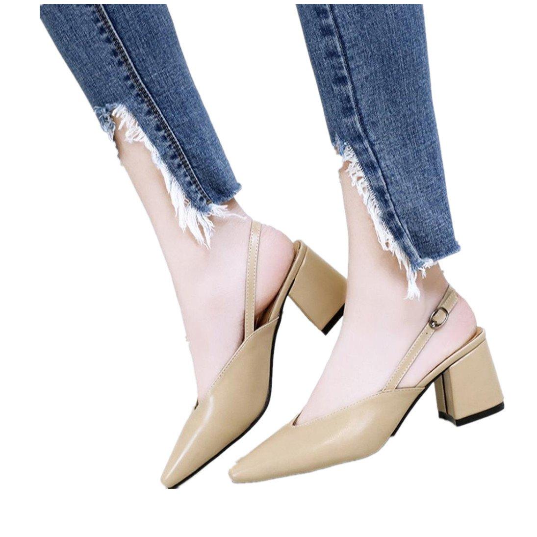 Fheaven (TM)) Women Ladies Pointed Toe Ankle Strap Shoes Slip-on High Heel Leisure Shoes (US:5, Khaki)