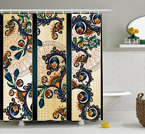 Ambesonne Abstract Shower Curtain by, Paisley Batik Floral D