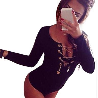 Zeagoo Frauen V-Ausschnitt Stretch Bodysuit Bodycon Overall Jumpsuit Sexy  Tops Schwarz EU 38/