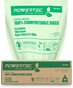 POWERTEC ASTM D6400 Certified Compostable Bags – 200 Count | 9.84 Liter - 2.6 Gallon Trash Bags, 0.71 Mil, US BPI and European OK Compost Home Certification - 100% Sustainable Green Products