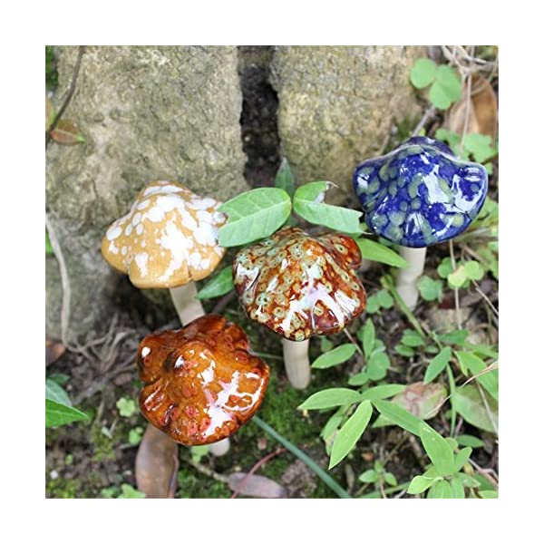Danmu-4pcs-Random-Color-Ceramic-Garden-Mushrooms-Lawn-Ornament-Dcor-Pottery-Ornament
