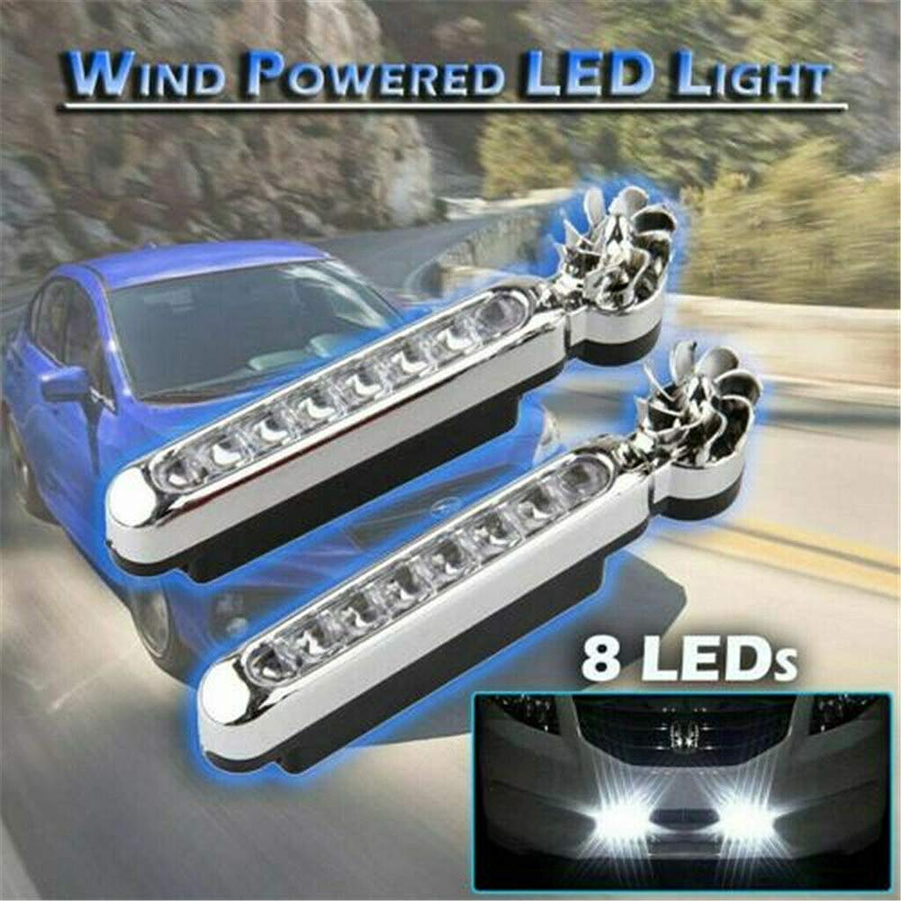 Eight High Brightness LED Wind Power Generated Easy Installation Without Wiring Gizayen 1 Pair Wind Driven Car Front Lights with Fan Rotation for Car Fog Warning 8X Leds Energy-Saving