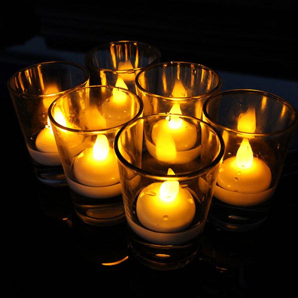 24個LEDフローティングTealight Candles、イエローSmokeless防水フレイムレスキャンドルライトウェディングホリデークリスマスXmasパーティー装飾 B07586771R 15502