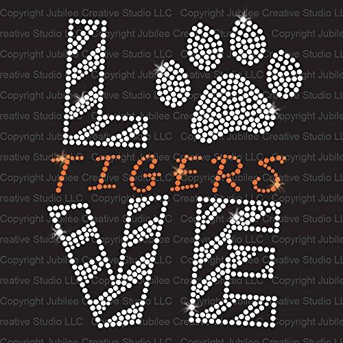 Love Tigers Orange Iron On Rhinestone Crystal and Rhinestud T-Shirt Transfer by JCS Rhinestones