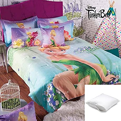 Disney Tinker Bell Magic 6 Pc Comforter Set Twin Bundled With One Pillow Protector