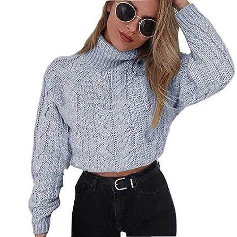a652f450cd5 Susenstone Femme Hiver Col Roulé Pull Pas Cher A La Mode Chaud en Tricot  Chandail Chemises Torsion à Manches Longues Sexy Court Sweater Pullover  Blouse  ...