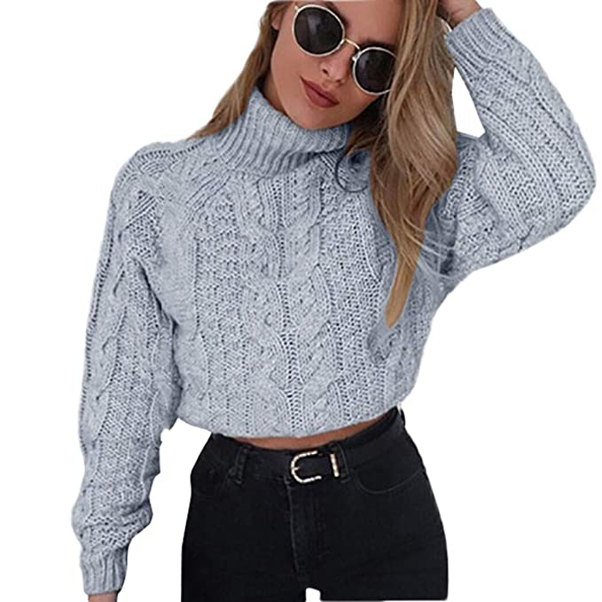 donne 2019 New Pullover Dolcevita Crop Maglione beige rosso manica lunga maglia Maglioni corti