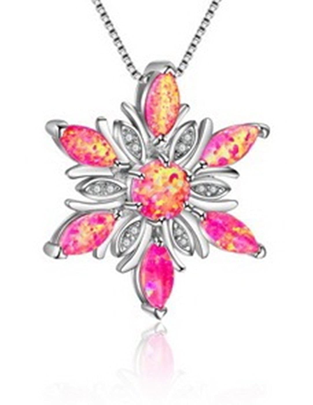 Fortonatori Created Pink Opal Flower Necklace 925 Silver Pendant Necklace 18 Chain