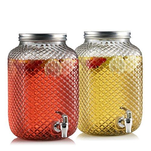 Emenest Glass Square Beverage Dispenser - Diamond Cut Design with Spigot and Lid - Set of 2 (2 Gallon Each) (Dual Cold Beverage Dispenser compare prices)