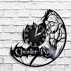 BombStudio Chester Page Vinyl Record Wall Clock, Chester Page Handmade for Kitchen, Office, Bedroom. Chester Page Ideal Wall Poster