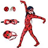 Yigoo Halloween Girls Cosplay Ladybug Marinette Black Cat Noir Jumpsuit Beetle Suit