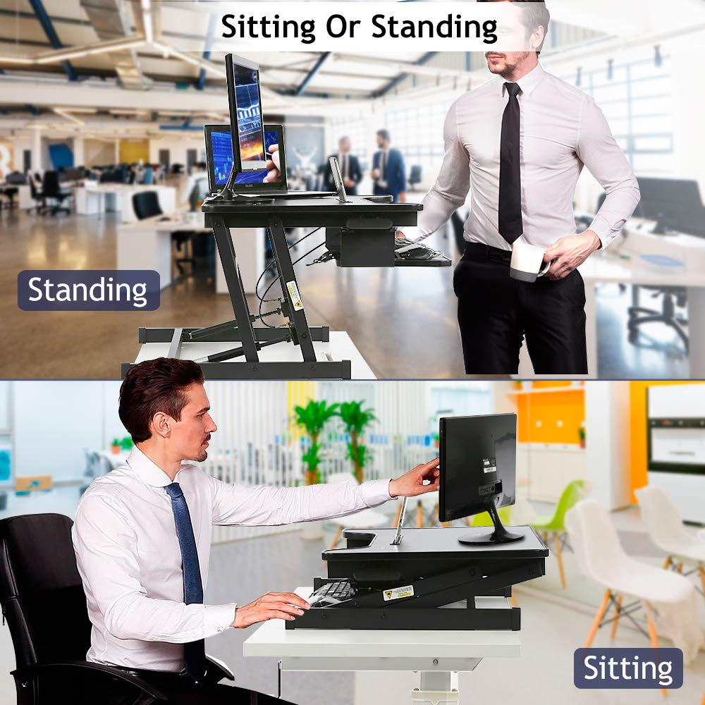 Standing Desk, Height Adjustable Stand Up Desk Gas Spring Riser Converter Sit to Stand Desk with Removable Keyboard Tray for Desktop Laptop Dual Monitor 32 Standing Desk