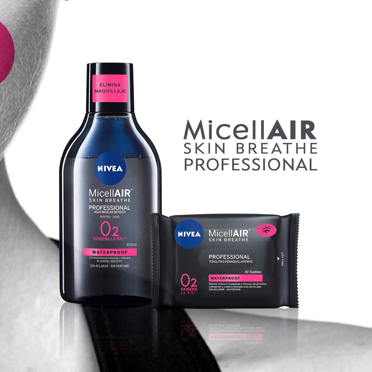 NIVEA MicellAIR Professional Agua Micelar Bifásica, agua micelar para limpieza facial, desmaquillador de ojos y rostro para todo tipo de piel - pack de 4 (4 ...