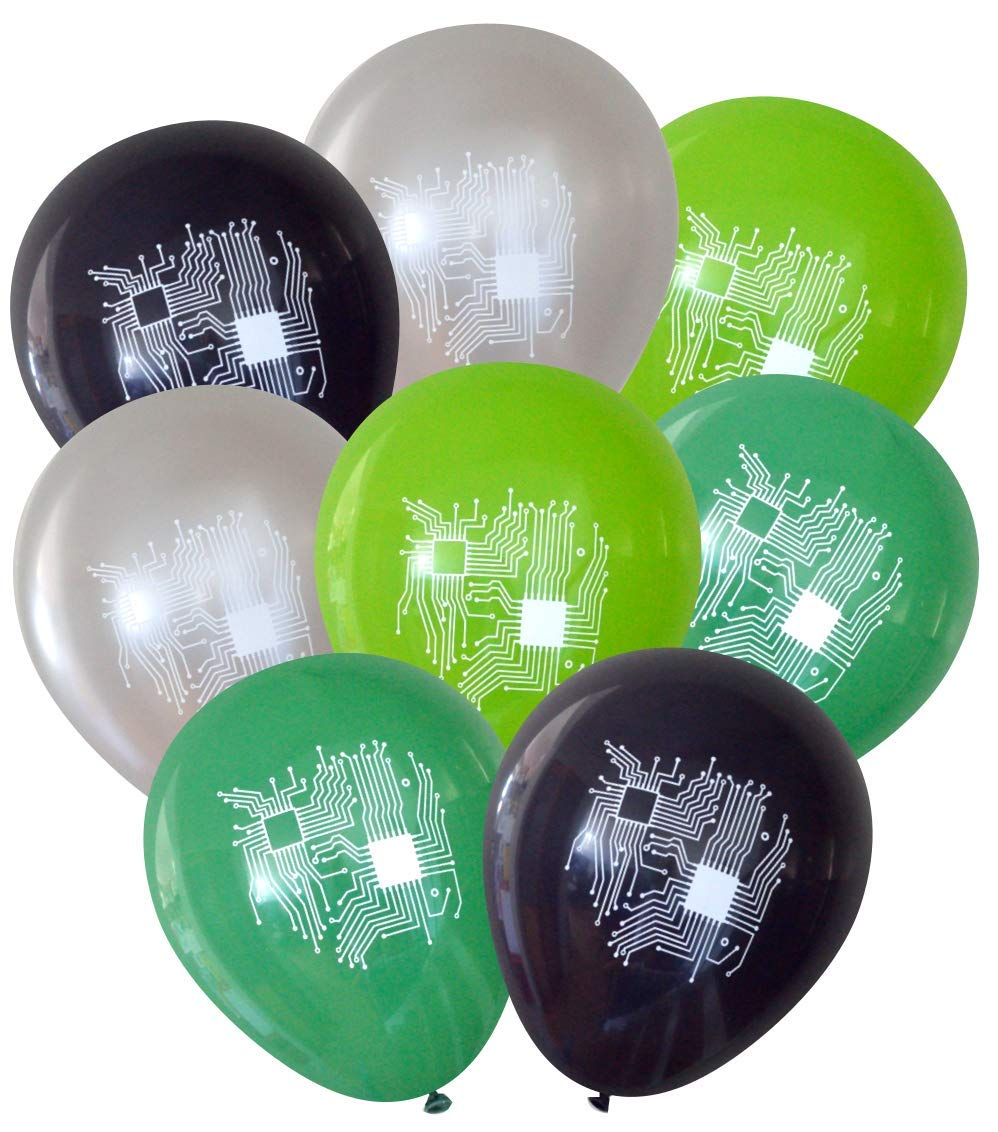 Computer Circuit Balloons (16 pcs) by Nerdy Words (Silver, Black, Green, Lime)