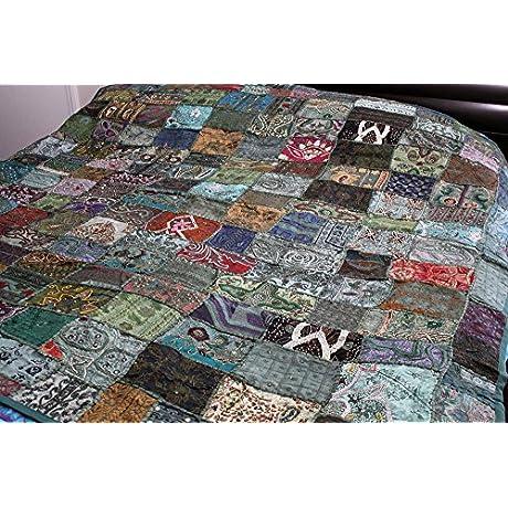 Vintage Indian Sari Beaded Embroider Bedcover Bedspread 80 X78 Or Tapestry Vsbt 80 Gr
