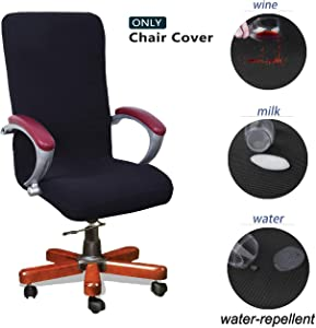 WOMACO Waterproof Office Chair Cover, Jacquard Computer Office Chair Covers Water-Repellent Universal Boss Chair Covers Modern Simplism Style High Back Chair Slipcover (Black, Medium)
