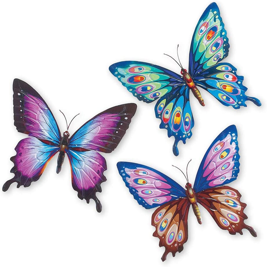 Collections Etc Colorful Butterfly Metal 3D Wall Art - Set of 3, Beautiful Shades of Purple, Blue, Brown, and Pink - Spring Decorative Accents for Any Room in Home