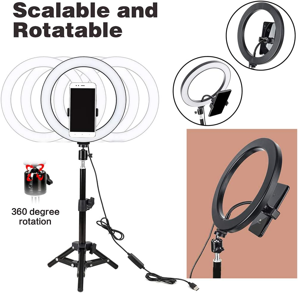 ldab10-inch Selfie Ring Light 360 Degree Adjusted Phone Clip LED Ring Light for Streaming Makeup Selfie Photography Compatible with iPhone Android