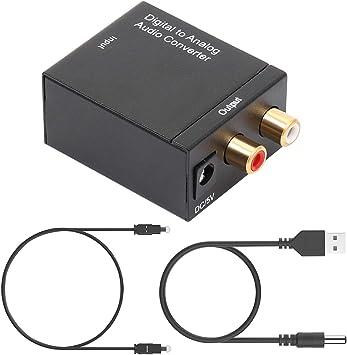 Convertidor DAC, Achort 192khz Dac Convertidor Digital Óptico Coaxial Toslink Convertidor Analógico Adaptador R/L con Cable Optico de 59 Pulgadas para PS3 PS4 Xbox HDTV BLU Ray DVD Sky HD TV Box: