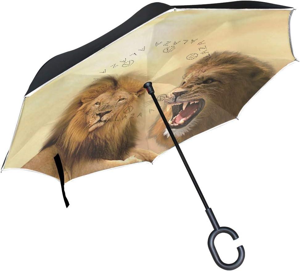 Ainans Reverse Umbrella Wyoming Mascot Horned Lizard Outdoor Windproof Double Layer Inverted Umbrella Rain Protection Upside Down Car Reverse UV Umbrellas Men Women