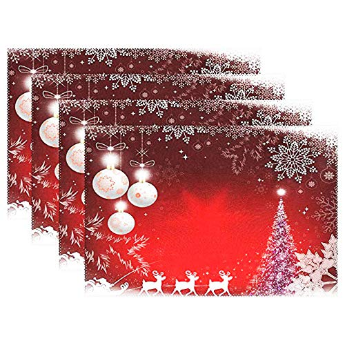 - Christmas Santa Claus Deer Placemats Table Mats Placemat Set of 6,Shining Tree Balls Snowflakes Non Slip Washable Place Mats 12x18 inch Heat Resistant Kitchen Tablemats for Kids Dining Room Dinner